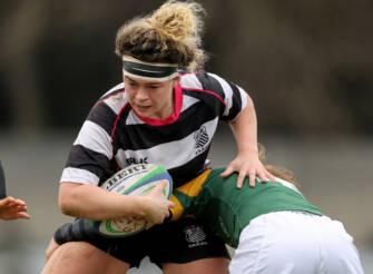 Victoria Dubanvich O'Mahony is tackled by Claire Keohane 13/4/2019