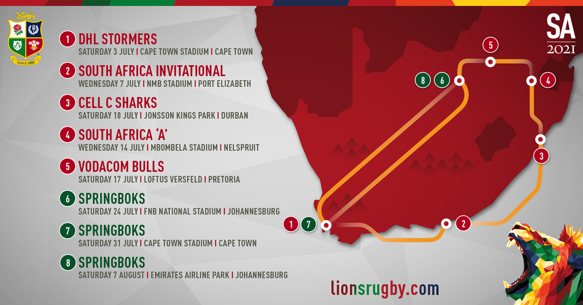 The itinerary of the British and Irish Lions' South Africa tour in 2021