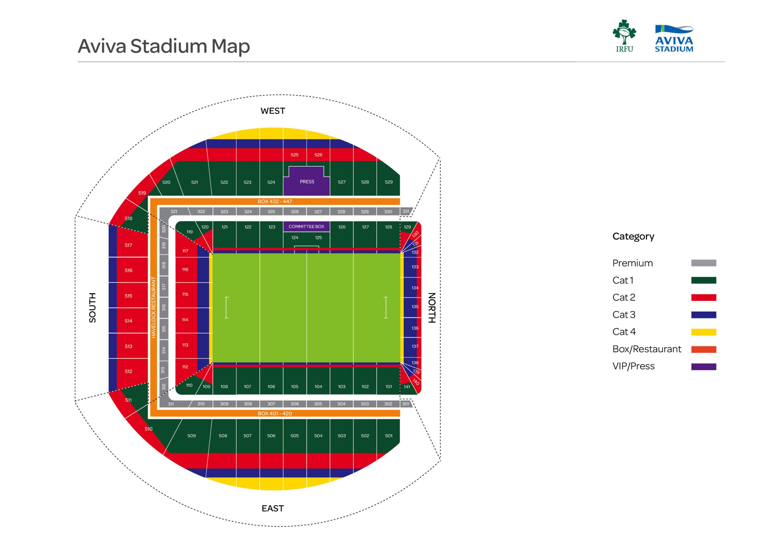 Ticket Category Map - Aviva Stadium