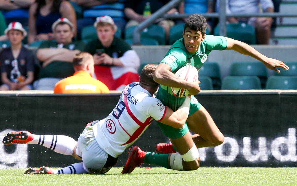 HSBC London Sevens, Cup Quarter-Final, Twickenham, London, England 3/6/2018<br /> USA 7s vs Ireland 7s<br /> Ireland's Robert Baloucoune tackled by Stephen Tomasin of the USA<br /> Mandatory Credit ©INPHO/Andrew Fosker