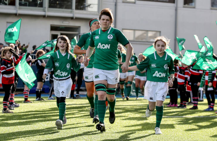 Ciara Griffin leads her team out into Energia Park 2/2/2020