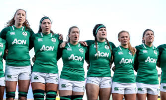 Aoife McDermott, Nichola Fryday, Edel McMahon, Anna Caplice, Kathryn Dane and Ellen Murphy during the anthems 2/2/2020