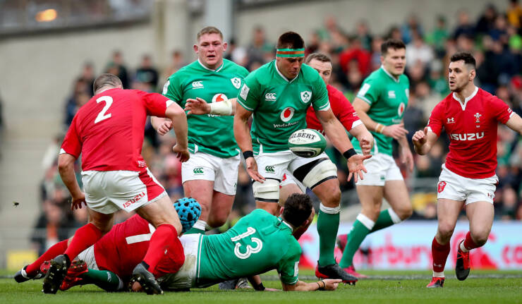 2020 Guinness Six Nations Championship Round 2, Aviva Stadium, Lansdowne Rd, Co. Dublin 8/2/2020 Ireland vs Wales Ireland's Robbie Henshaw and CJ Stander with Justin Tipuric of Wales Mandatory Credit ©INPHO/Ryan Byrne