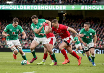 2020 Guinness Six Nations Championship Round 2, Aviva Stadium, Lansdowne Rd, Co. Dublin 8/2/2020 Ireland vs Wales Ireland's Jacob Stockdale and George North of Wales compete for a ball on the ground Mandatory Credit ©INPHO/Dan Sheridan