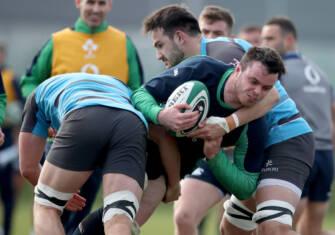 Ireland vs Ulster Rugby Training, IRFU High Performance Centre, Sport Ireland Campus, Blanchardstown, Dublin 5/3/2020 James Ryan with Greg Jones Mandatory Credit ©INPHO/Dan Sheridan