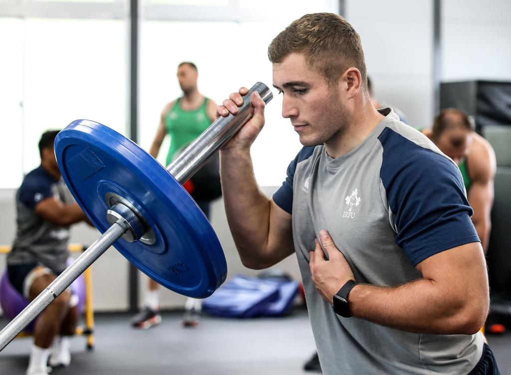 Jordan Larmour in the gym on Ireland duty