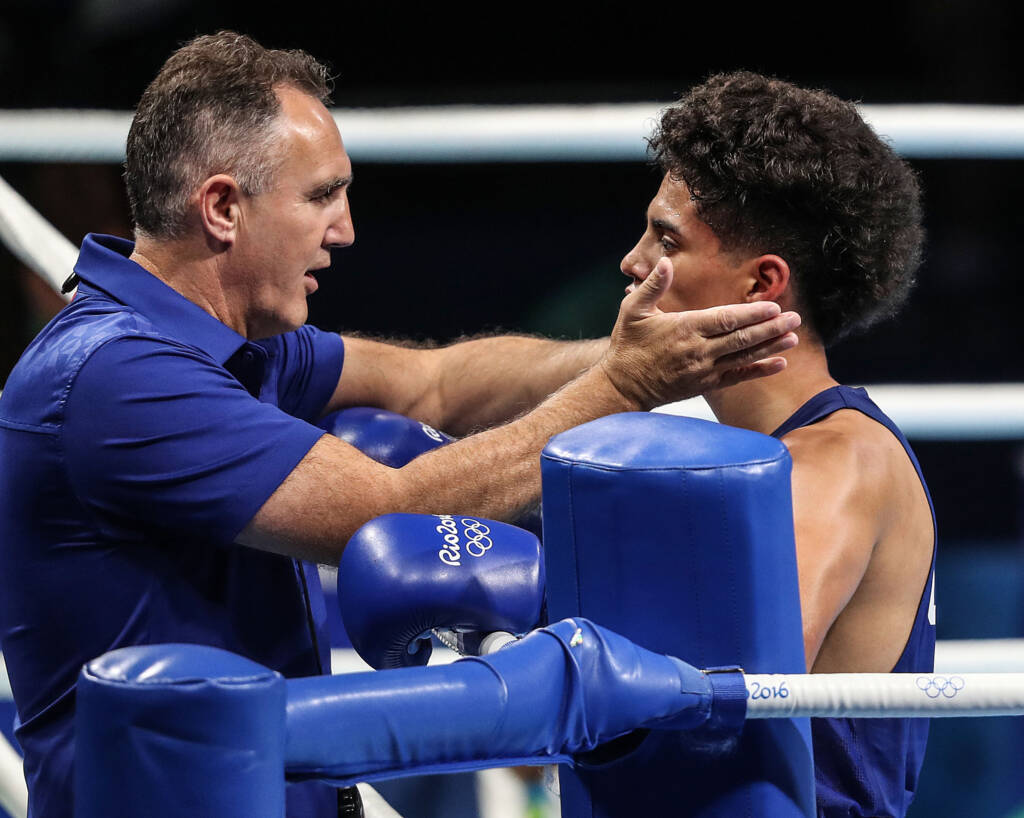 USA Boxing Coach Billy Walsh with Antonio Vargas at the Rio 2016 Olympic Games