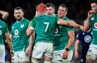 Peter O'Mahony and CJ Stander congratulate Josh van der Flier on a turnover 1/2/2020