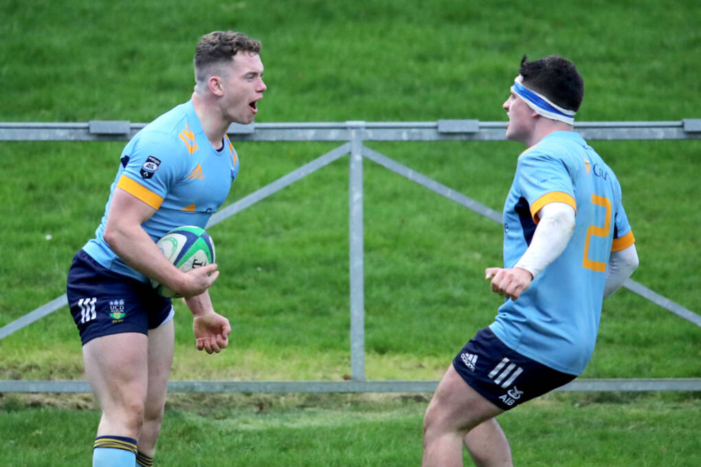 Energia All-Ireland League Division 1A, University College Dublin Rugby Football Club, Belfield, Co. Dublin 25/1/2020 UCD vs Cork Constitution UCD's Josh O'Connor celebrates scoring a try with Richie Bergen Mandatory Cedit ©INPHO/Bryan Keane