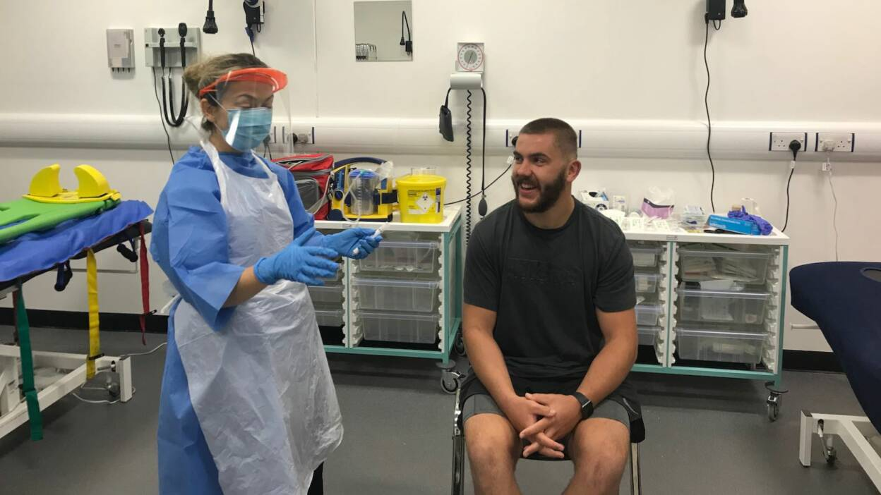 Adam McBurney at the Ulster Rugby High Performance Centre for PCR testing