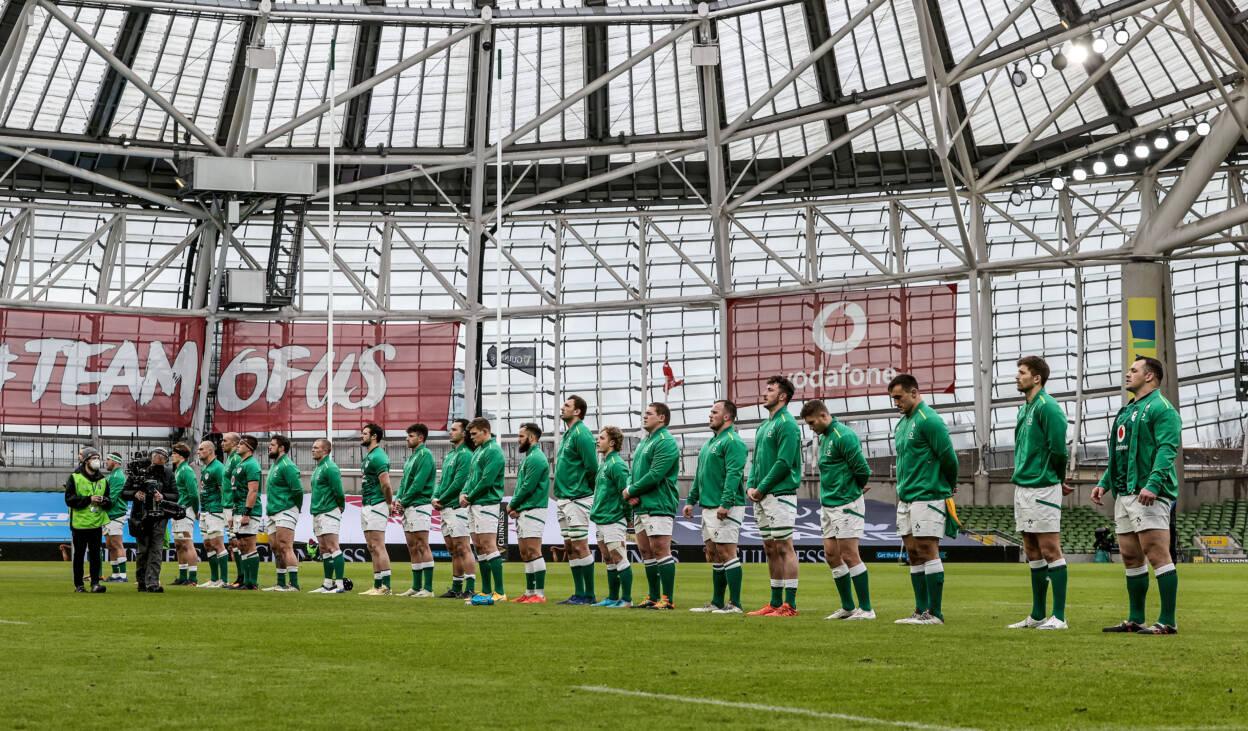2021 Guinness Six Nations Championship Round 2, Aviva Stadium, Co. Dublin 14/2/2021 Ireland vs France The Ireland team during the national anthem Mandatory Credit ©INPHO/Dan Sheridan