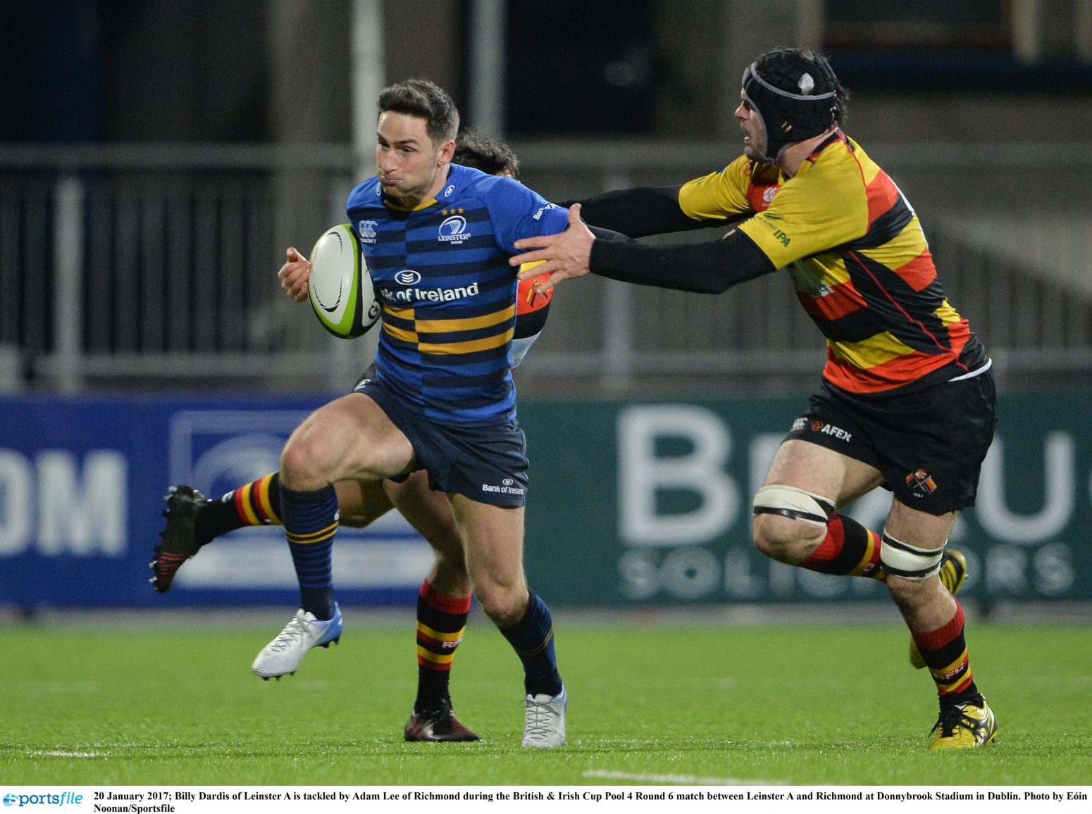 20 January 2017; Billy Dardis of Leinster A is tackled by Adam Lee of Richmond during the British & Irish Cup Pool 4 Round 6 match between Leinster A and Richmond at Donnybrook Stadium in Dublin. Photo by Eóin Noonan/Sportsfile
