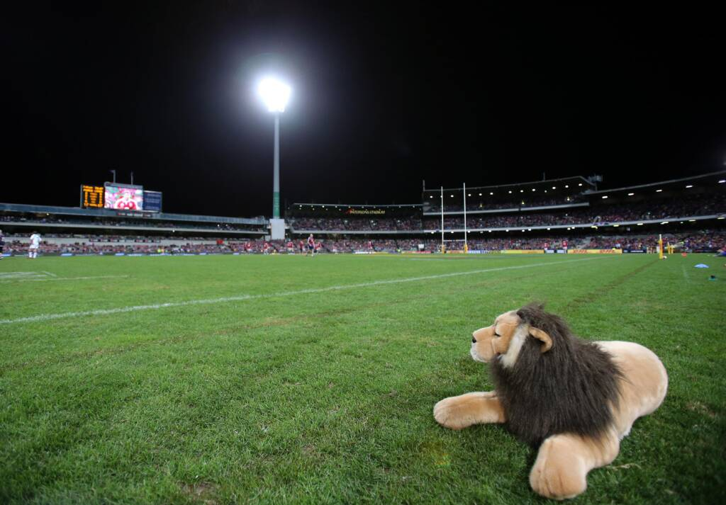 The lion mascot on the side of the pitch
