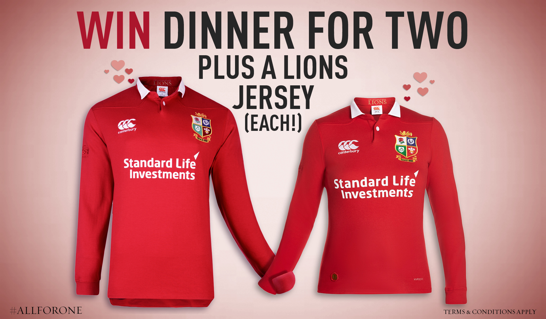 Win a dinner for two and a pair of Lions jerseys on Valentine's Day