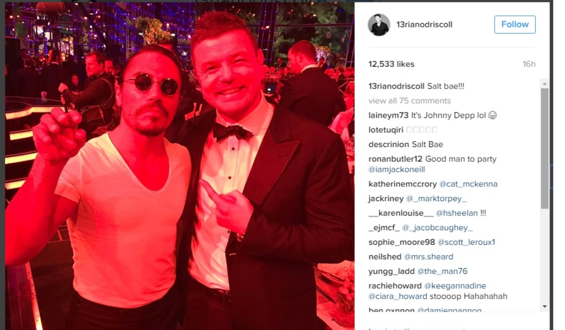 O'Driscoll meets 'Salt Bae' at the Laureus Sports Awards