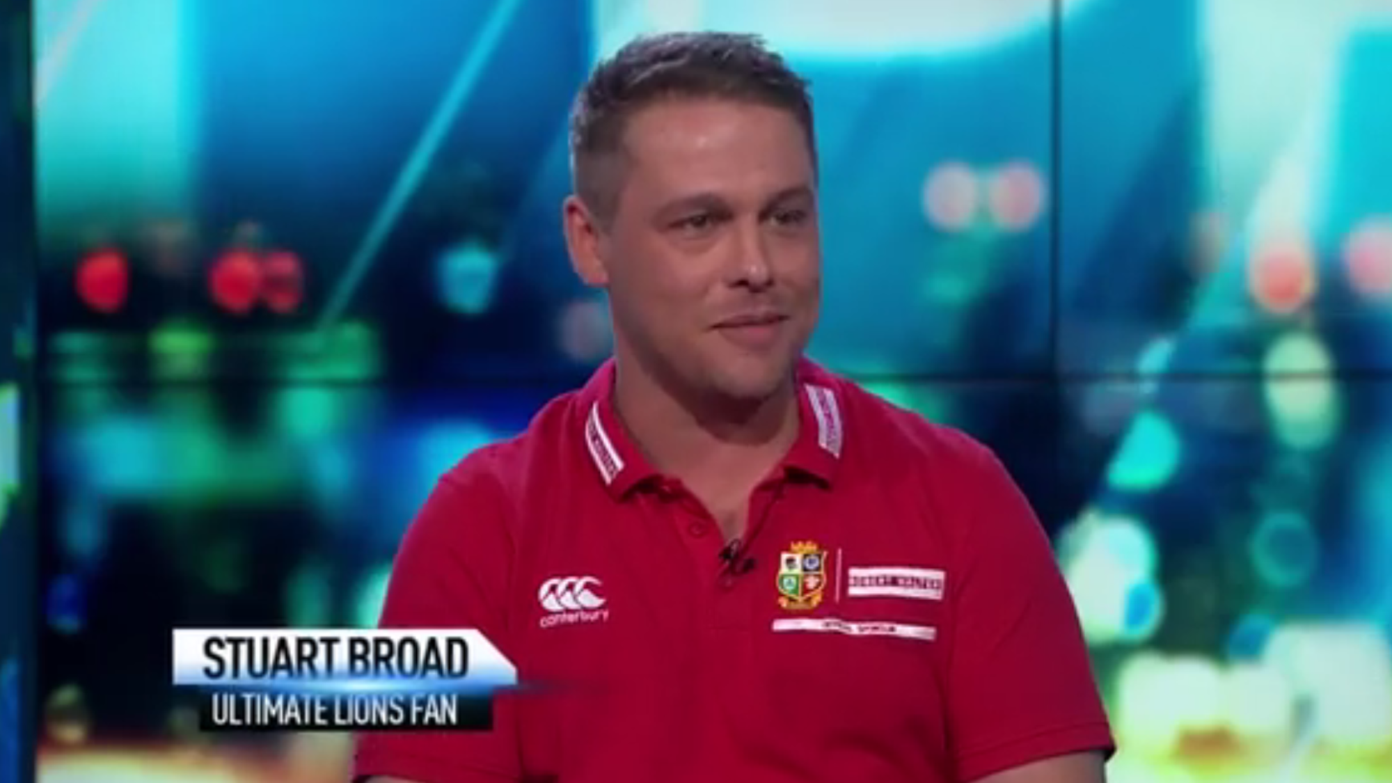 Ultimate Lions Fan Stuart Broad shines on New Zealand Television