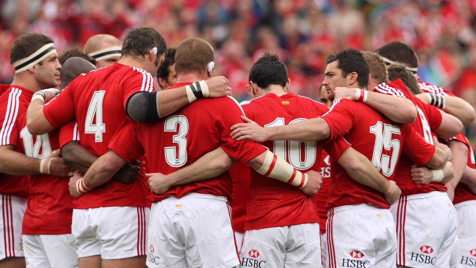 The British and Irish Lions team huddle