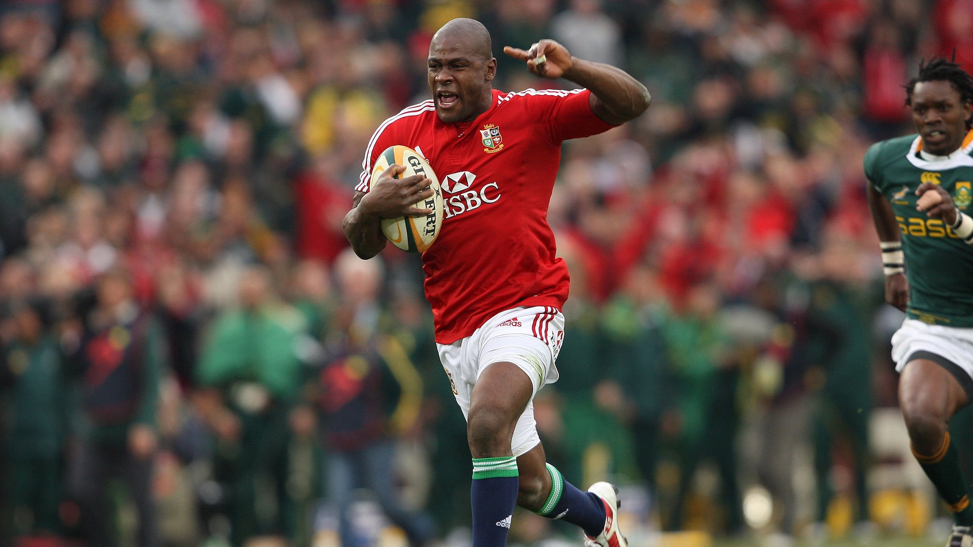 Ugo Monye goes in to score the lions 3rd try after an intercept
