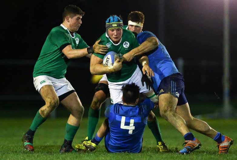 Academy lock Fineen Wycherley in Ireland U20 action against Italy. ©INPHO/Matteo Ciambelli