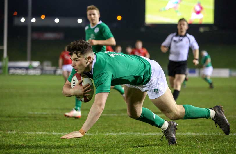Calvin Nash scores for Ireland U20 against Wales.  The academy winger captained the side against France, Wales and England. ©INPHO/Camerasport/Alex Dodd