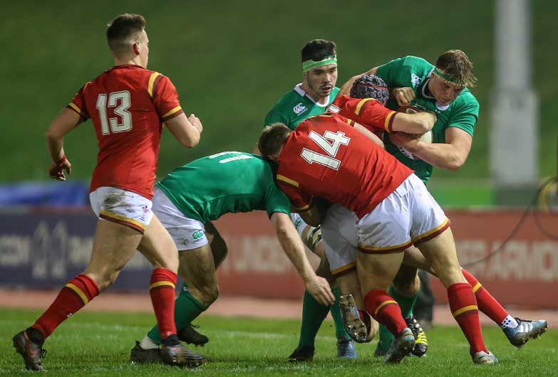 Academy back row Gavin Coombes makes the hard yards against Wales U20. ©INPHO/Camerasport/Alex Dodd