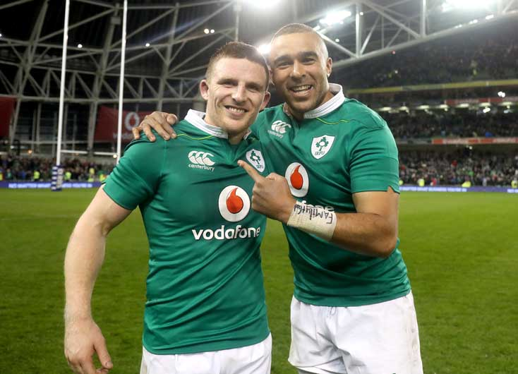 Conway and Simon Zebo celebrate a winning end to Ireland's campaign. ©INPHO/Dan Sheridan