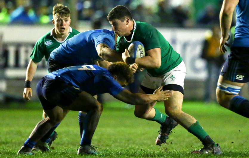 Sub-academy prop Joey Conway braces for impact against Italy U20. ©INPHO/Matteo Ciambelli
