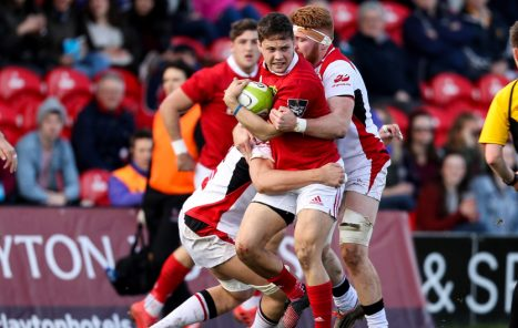 Dave Johnston makes the hard yards in Munster A