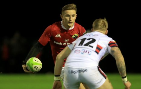 Munster A captain Cian Bohane on the attack.