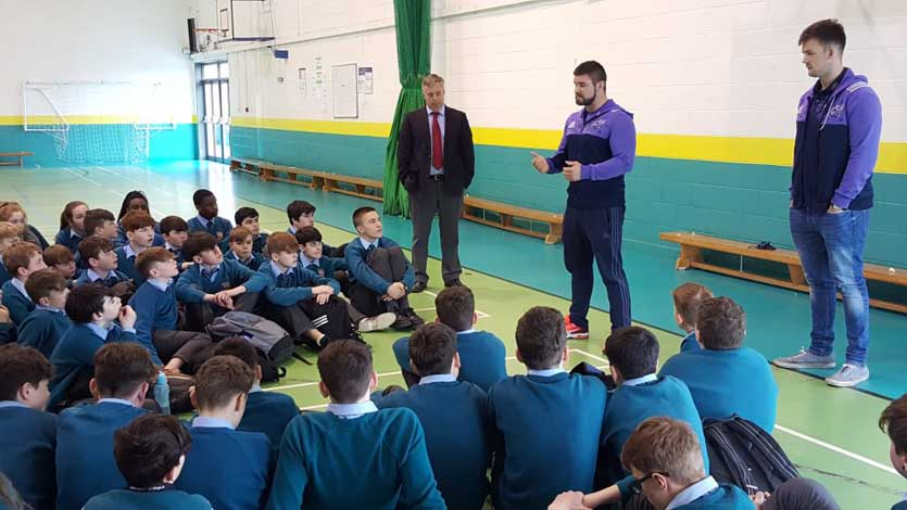 Duncan Casey and Sean McCarthy take part in a Q&A session in Castletroy College.