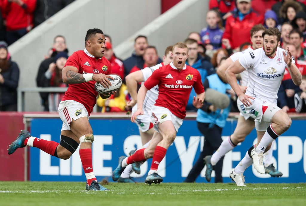 Francis Saili makes a sublime break with Keith Earls in support, leading to Munster's second try.