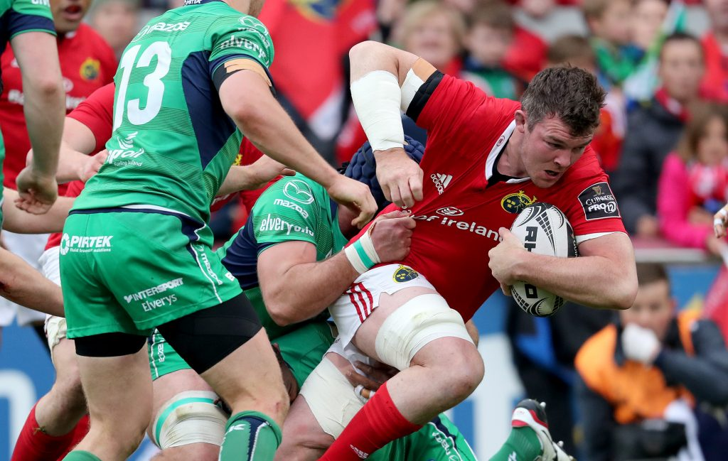 Peter O'Mahony makes a charging run.