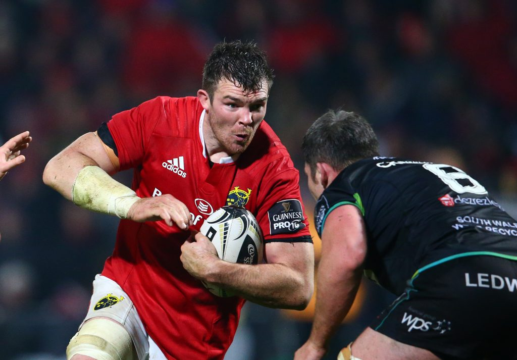 Peter O'Mahony on the attack against Ospreys this season.
