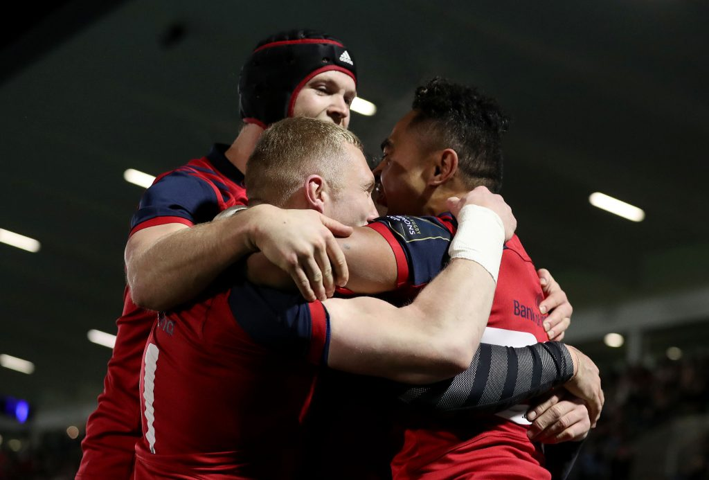 Francis Saili celebrates his try against Glasgow Warriors in January with Keith Earls and Tyler Bleyendaal.