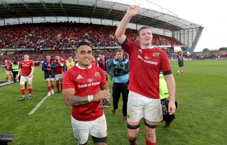 Saili and Ryan wave goodbye to the crowd at Thomond Park.