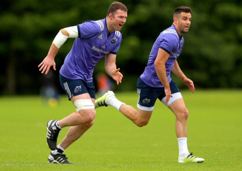 Donnacha Ryan and Conor Murray at training in UL. ©INPHO/James Crombie