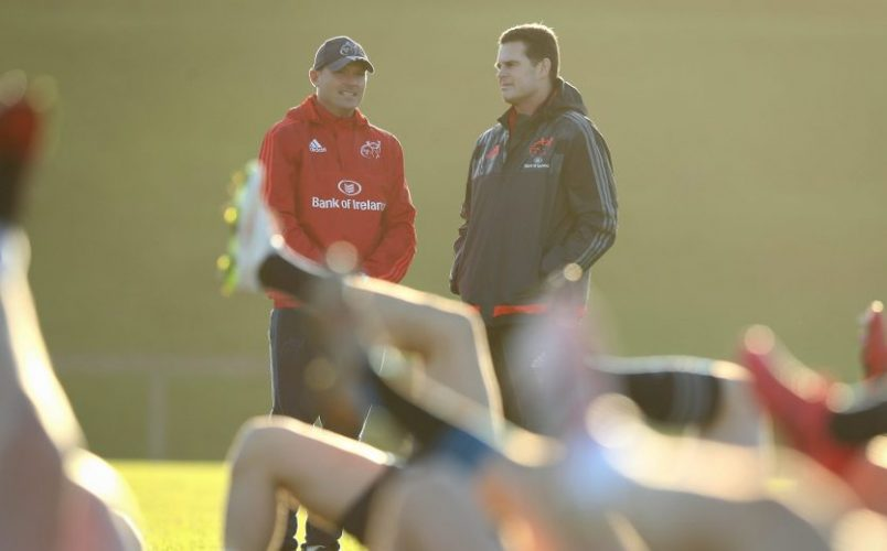 Defence Coach Jacques Nienaber and Director of Rugby Rassie Erasmus.