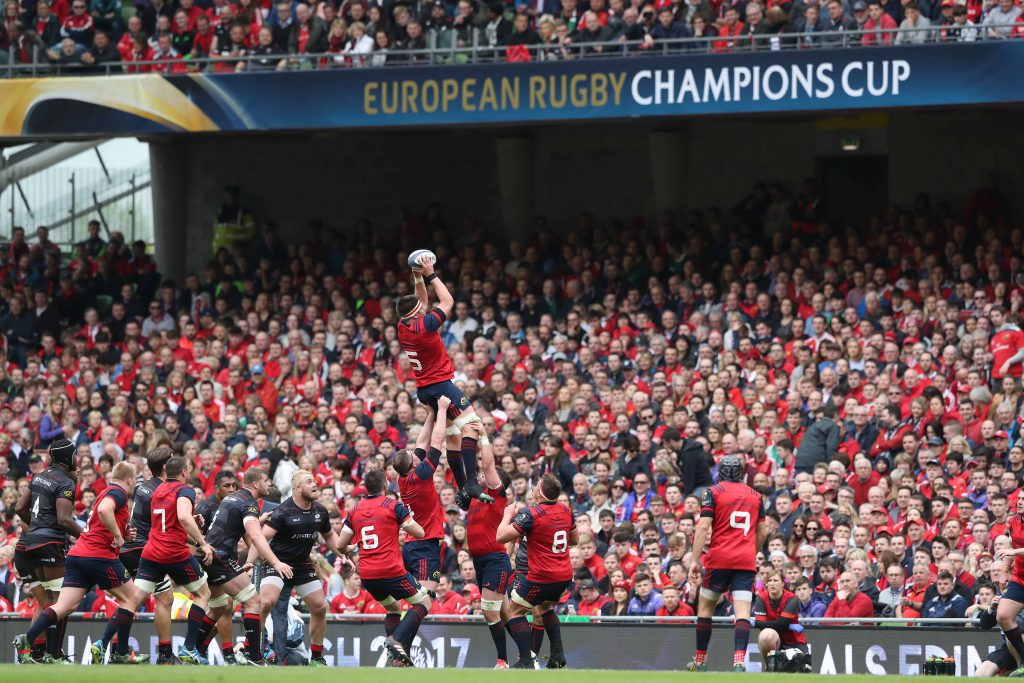 Munster in Champions Cup semi final action at the Aviva Stadium last season.