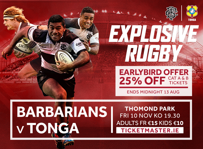 Barbarians return to Thomond Park on November 10th to take on Tonga.