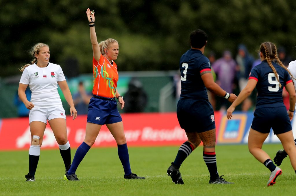 Referee Joy Neville in World Cup action. ©INPHO/James Crombie