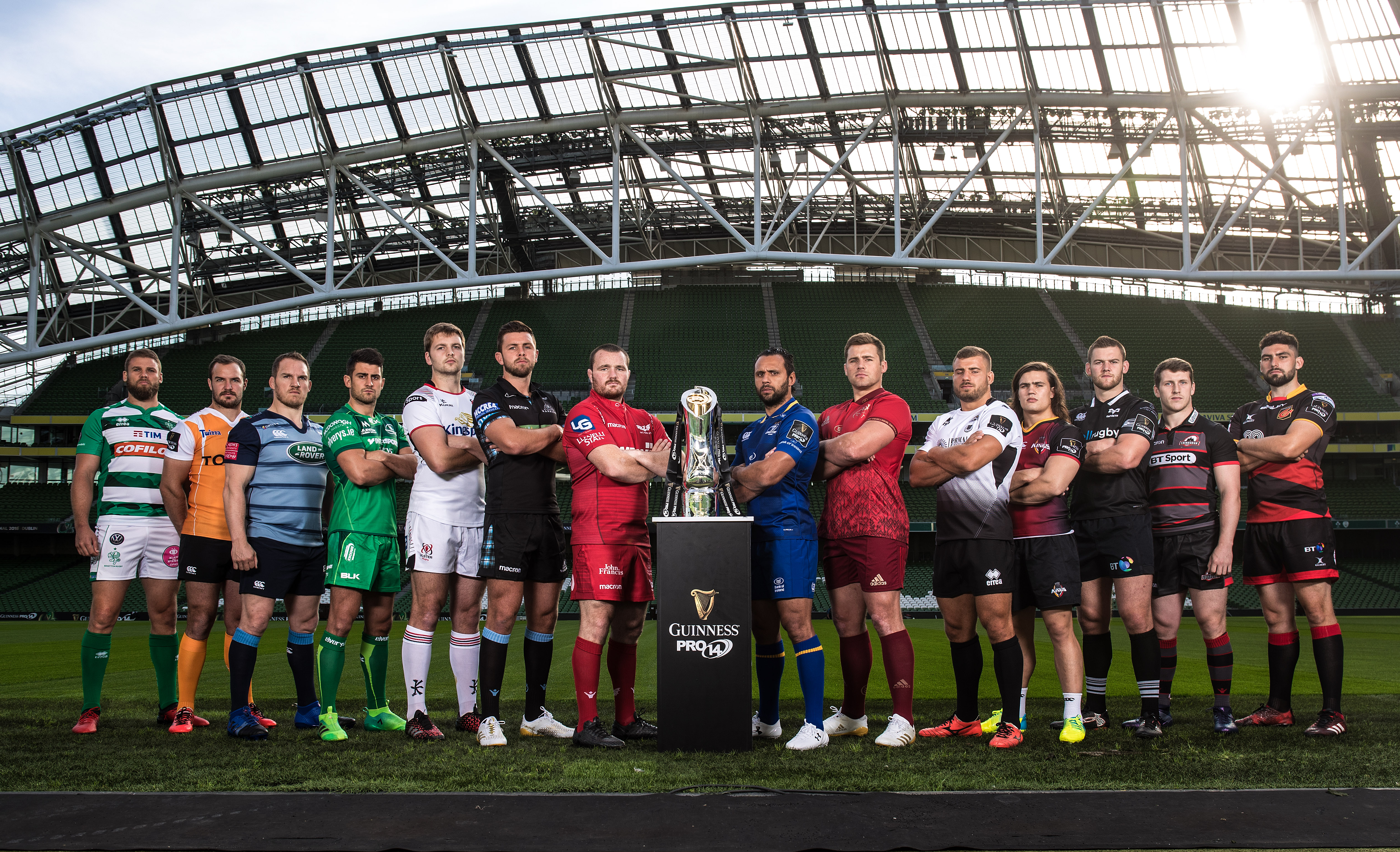All 14 teams poised and ready to go for this weekend's opening round of the Guinness PRO12. CJ Stander represented Munster.
