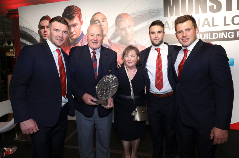 Brendan and Shelia Foley pictured at last night's ceremony with Peter O'Mahony, Conor Murray and CJ Stander.