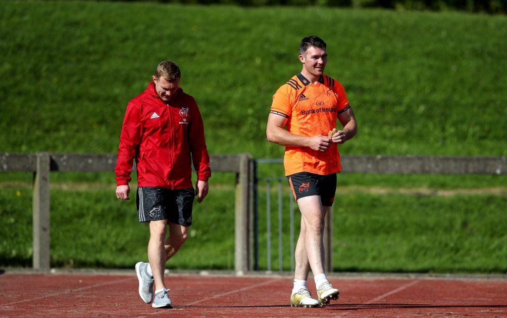 Keith Earls and Peter O'Mahony at Munster training in UL.