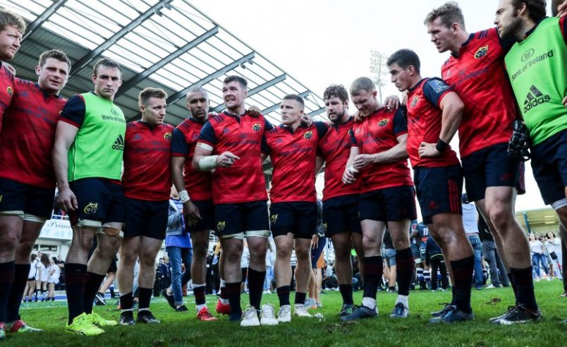 The Munster players gather in a huddle after drawing with Castres Olympique on Sunday.