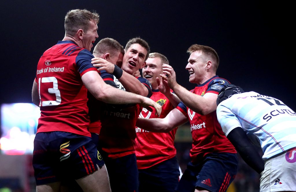Celebration time in Thomond Park after Andrew Conway scores Munster's second try.