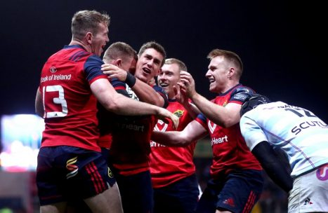Celebration time in Thomond Park after Andrew Conway scores Munster