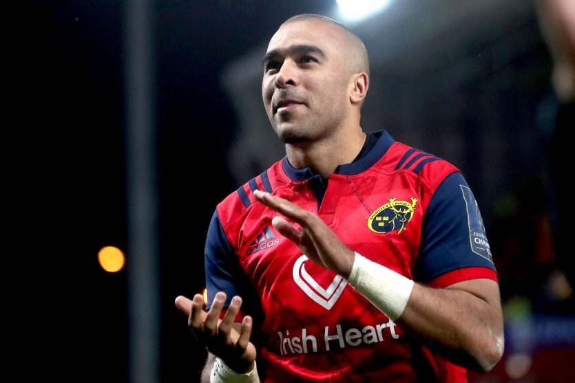 Simon Zebo celebrates after the game on Saturday.