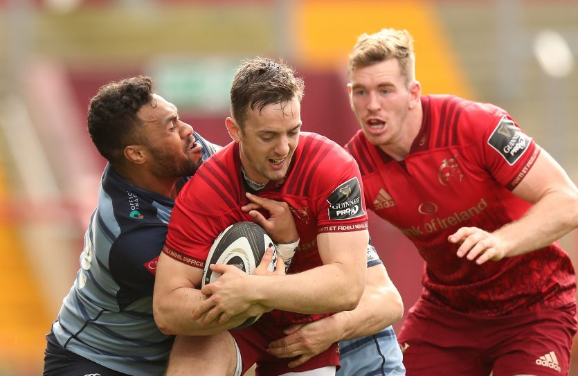 Darren Sweetnam and Chris Farrell in action against Cardiff Blues. Both players have been included in the Ireland squad.