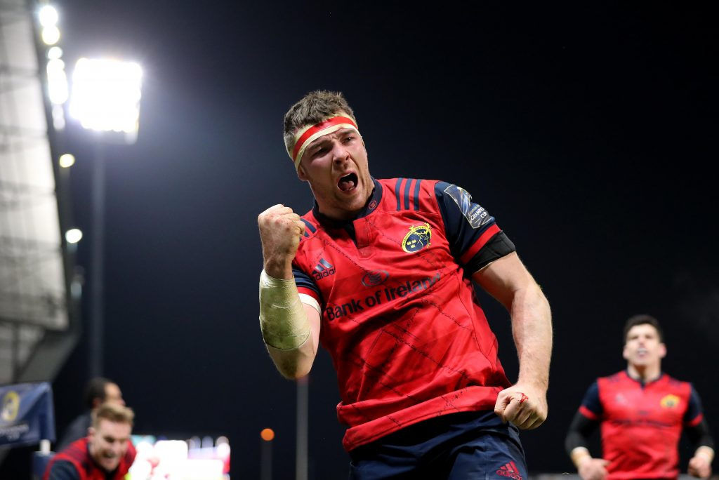 Peter O'Mahony celebrates scoring a try in Thomond Park.