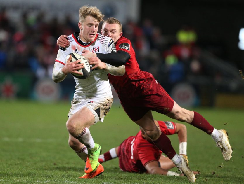 Ulster's Rob Lyttle tackled by Keith Earls